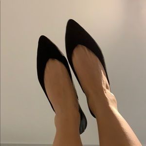 Black flats with leather